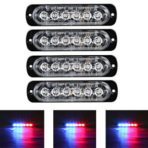 4x Red Blue 6 Led Car Truck Emergency Beacon Warning Hazard Flash Strobe Light