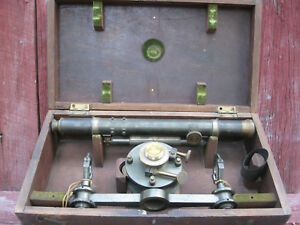Antique Transit Wye Level In Original Case Rich Patten Baltimore Md 1860 S