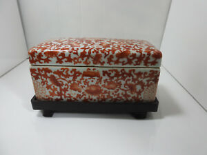 Antique Chinese Hand Painted Iron Red Dresser Box Jiaqing Reing Mark