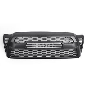 For 2005 2011 Toyota Tacoma Front Bumper Hood Grille Grill Matte Black W logo B1