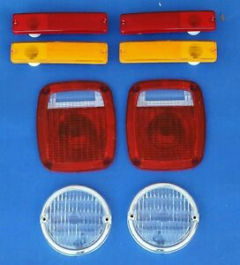 Jeep Cj7 1976 1980 8 Pc Lens Kit Front Parking Side Marker Tail Light Lenses