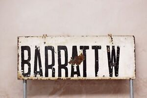Antique Vintage Industrial Original Barratt W Metal Sign