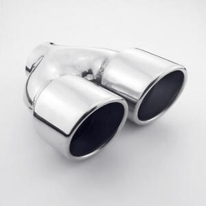 Exhaust Tip Twin Round 3 5 Outlet 2 5 Inlet Slant Cut Rolled Stainless Steel