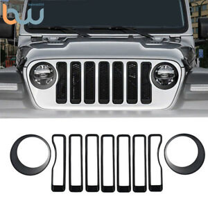 Front Grill Inserts Headlamp Verlays Kit For 2018 Jeep Wrangler Jl Accessorie