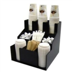 Cup Lid Dispenser Organizer Coffee Condiment Holder Caddy Coffee Cup Rack N Aw