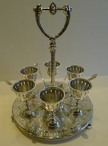 Antique English Silver Plated Egg Cruet For Six C 1890
