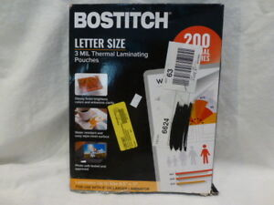 Bostitch 8 5 x11 Letter Size 3 Mil Thermal Laminating 200 Pouches 77