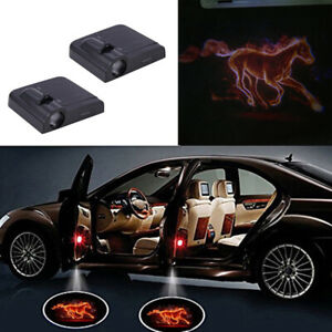 2pcs Car Door Led Welcome Laser Projector Fire Horse Shadow Light Ford Mustang