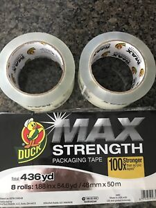 2 Pack Clear Heavy Duty Duck Max Strength Packaging Tape 1 88 In X 54 6 Yd Lot