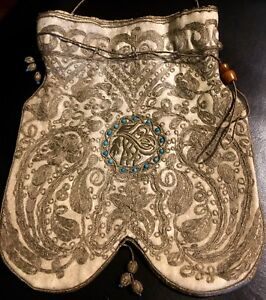Antique Ottoman Turkish Gold Metallic Embroidered Beaded Bag Purse Pouch 1800 S