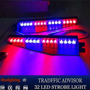 34 32led Emergency Warning Strobe Visor Mount Deck Dash Light Bar Blue Red