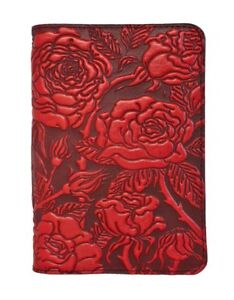Wild Rose Oberon Design Custom Made Red Leather Pocket Moleskine notebook Cover