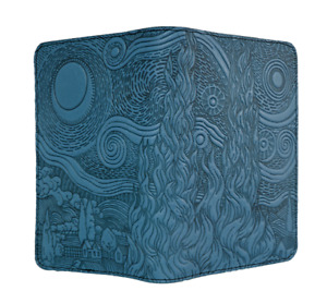 Van Gogh Sky Oberon Design Custom Blue Leather Pocket Moleskine notebook Cover