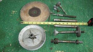 LOT OF WOODWORKING MACHINE PARTS- SANDING DISC SHEEVE SPINDLES PINS ETC