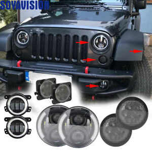 7 Led Headlight Turn Signal Fender Fog Light Lamp Kit 2007 17 Jeep Jk Wrangler