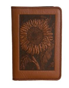 Sunflower Oberon Design Custom Saddle Leather Pocket Moleskine notebook Cover