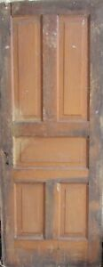 Vintage Solid Wood Door 5 Panel Architectural Salvage Door