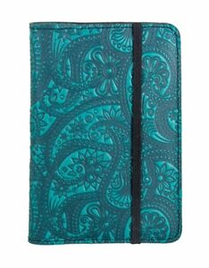 Paisley Oberon Design Custom Teal Blue Leather Pocket Moleskine notebook Cover