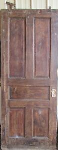 Vintage Solid Wood Door 5 Panel Architectural Salvage Pocket Door Lock