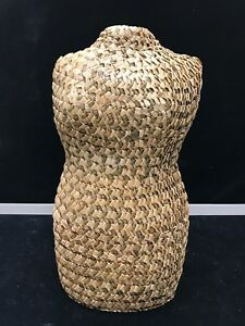 Vintage Wicker Female Torso Mannequin Dress Form Sculpture 17