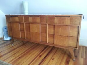 Vintage Basic Witz Mid Century Modern Furniture Set Chest Dresser And Mirror