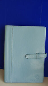 Blue Genuine Leather Franklin Covey Wire Bound Planner Cover 9 x6 5 Very Good