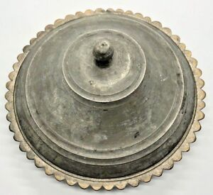 Antique Service Dish With Lid Copper Islamic Unusual Scalloped Shaped Rare