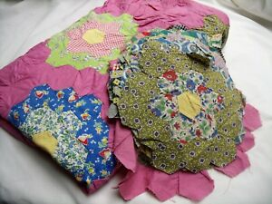 Vintage Quilt Top And Blocks Grandma S Garden Hand Stitched Unfinished