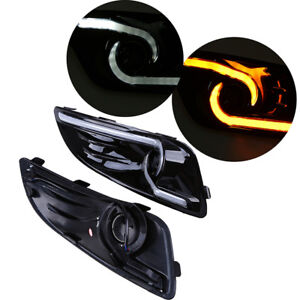 Led Drl Car Daytime Running Light Yellow Turn Signal For Ford Fiesta 2013 2016