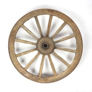 Antique Wagon Wheel Wood Cast Iron Hub 12 Spoke Primitive Rustic Vtg