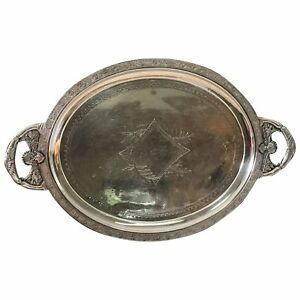 Large Antique Victorian Aesthetic Silver Plate Tray By Meriden