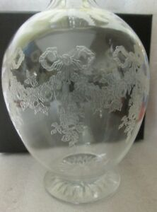 Vtg Victorian Glass Decanter Zipper Cut Etched Ribbon Roses Swag Old English