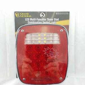 Red Universal 3 Stud Mount Combination Led Tail Light Roadside With License Led