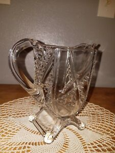 Vintage Depression Square Shaped Glass Footed Pitcher Diamond Eapg
