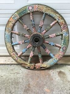 Vintage Wooden Gypsy Wagon Wheel 12 Spoke Cast Iron Rim 27 Diameter