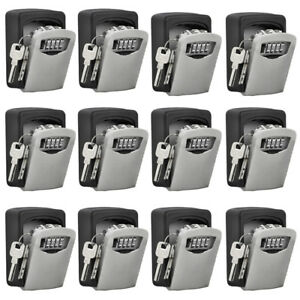 Set Of 12 Combination 4 Digit Hide Key Lock Box Storage Wall Mount Security Case