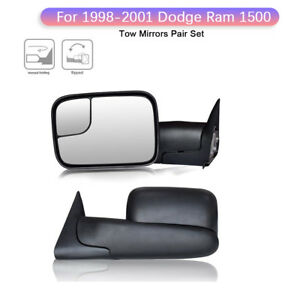 Left right Fit 1998 2001 Dodge Ram 1500 98 02 2500 3500 Tow Flip Up Mirror