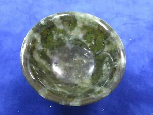 Finely Carved Chinese Spinach Green Jade Bowl