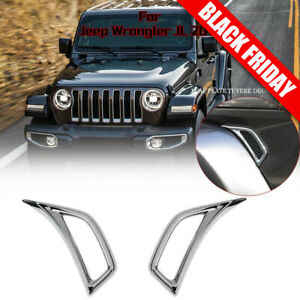 Chrome Abs Car Leaf Plate Air Inlet Trim Cover For 2018 Jeep Wrangler Jl 2pcs