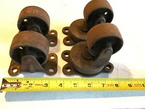 Vintageset Of 4 Antique Cast Iron Caster Wheel Cart Steam Punk Industrial Rail