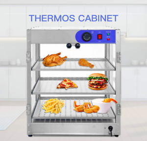 3 Tiers Commercial Food Pizza Warmer Cabinet Countertop Heated Display Case