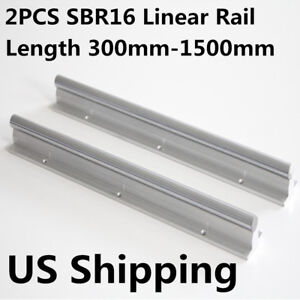 Us 2pcs Sbr16 L300 1500mm Fully Supported Linear Rail Bearing For Cnc Machine