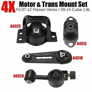 4pcs Engine Motor Trans Mount Set For 2007 12 Nissan Versa 2009 14 Cube 1 8l