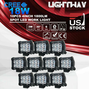 10x 4 Inch 18w Cree Led Work Light Bar Spot Truck Offroad 12v24v Driving Light