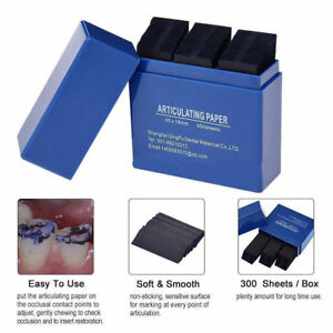300 Sheets box Dental Restoration Occlusion Articulating Paper Strips Blue