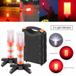 Sailnovo 2 Led Emergency Roadside Flares Red Road Beacon Safety Strobe Lights