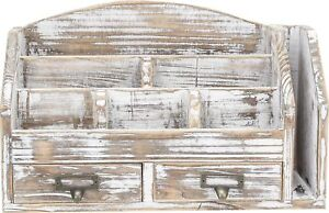 Decorative Distressed Rustic Style Torched Wood Desk Rack Organizer Mail Sorter