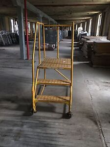 3 Step Rolling Ladders Yellow