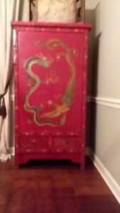Vintage Chinese Red Wine Cabinet With Dragon