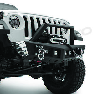 Rock Crawler Front Bumper Winch Plate 4x Led Mount For 18 19 Jeep Jl Wrangler